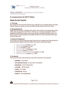 Song Lessons Fundamentals of English Grammar 3rd Edition Worksheet