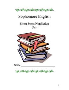 Sophomore English Short Story/Nonfiction Unit Worksheet