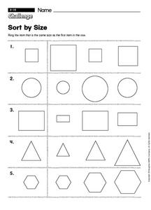 Sort by Size Worksheet