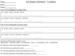 Sort Numbers Worksheet