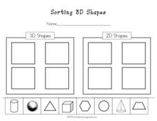 Sorting 3D Shapes Worksheet