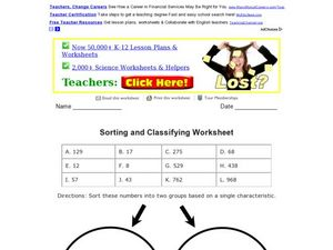 Printables Classifying Numbers Worksheet sorting and classifying numbers 3rd 4th grade worksheet lesson worksheet