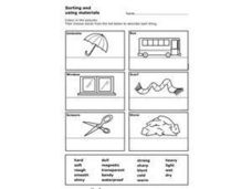 Sorting and Using Materials: Words That Describe Objects Worksheet