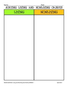 Worksheet Living And Nonliving Worksheets sorting living and nonliving objects 2nd 6th grade worksheet worksheet