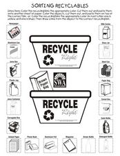 Sorting Recyclables Worksheet
