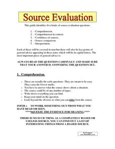 Source Evaluation 8th - 9th Grade Worksheet | Lesson Planet