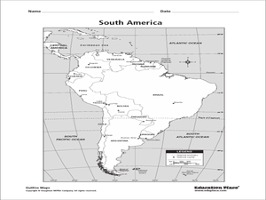 South America Map Worksheet