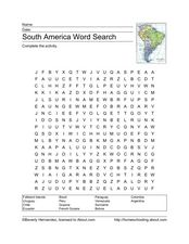 South America Word Search Worksheet