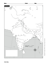 South Asia Landform Map Worksheet