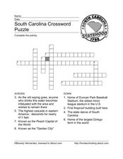 South Carolina Crossword Puzzle Worksheet