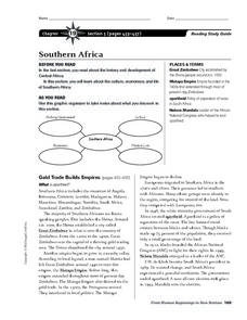 Southern Africa Worksheet