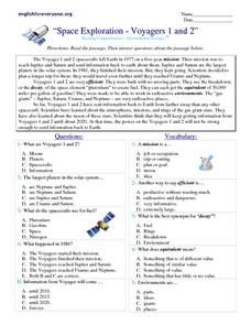 Space Exploration- Voyagers 1 and 2 Worksheet