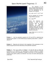 Space Shuttle Launch Trajectory-I Worksheet