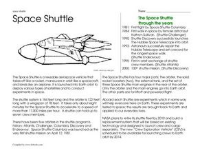 Space Shuttle Worksheet