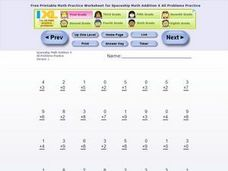 Spaceship Math Addition XAll Problems Practice Version 1 Worksheet