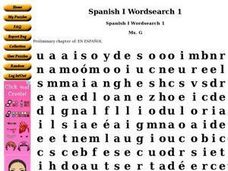 Spanish I Wordsearch 1 Worksheet