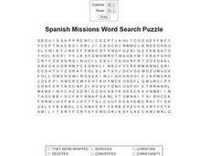 Spanish Missions Word Search Puzzle Worksheet