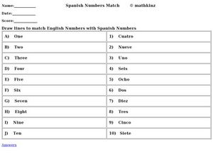 Spanish Numbers Match Worksheet