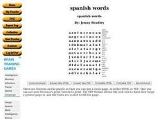 Spanish Words Worksheet