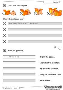 Spatial Terms Worksheet
