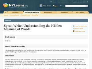 Speak Write! Understanding the Hidden Meaning of Words Lesson Plan