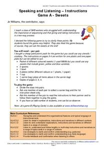 Speaking And Listening--Instructions Worksheet