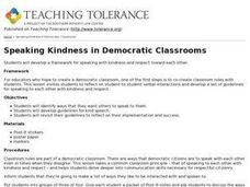 Speaking Kindness in Democratic Classrooms Lesson Plan