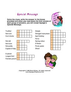 Special Message Secret Code Worksheet