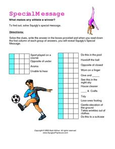 Special Message--What Makes Any Athlete a Winner? Worksheet