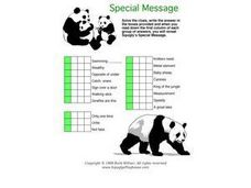 Special Message Word Puzzle-- Panda Bears Worksheet
