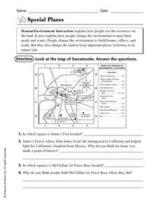 Special Places: Human/Environment Interaction Worksheet