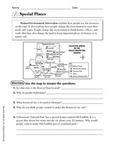 Special Places Worksheet