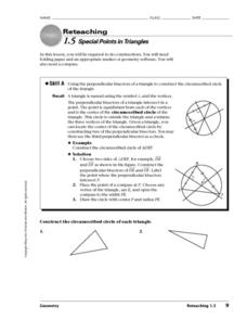 Special Points in Triangles Worksheet