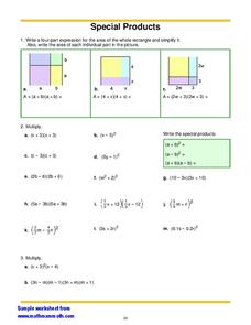 Special Products Worksheet