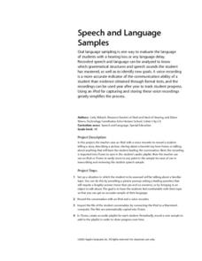 Speech and Language Samples Lesson Plan