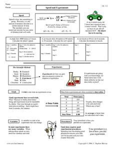 Speed and Experiments 9th - 12th Grade Worksheet | Lesson ...