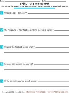 Speed - Do Some Research Worksheet