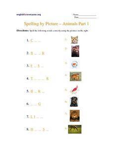 Spelling by Picture- Animals Part 1 Worksheet