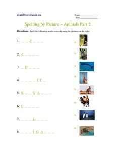 Spelling by Picture- Animals Part 2 Worksheet