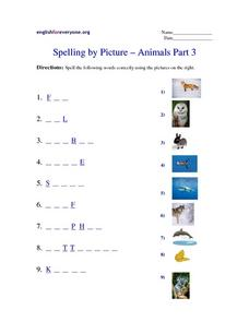Spelling by Picture -- Animals Part 3 Worksheet