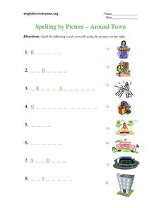 Spelling by Picture- Around Town Worksheet