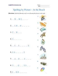 Spelling by Picture - At the Beach Worksheet