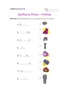 Spelling By Picture- Clothing Worksheet