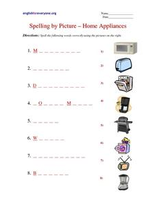 Spelling by Picture - Home Appliances Worksheet
