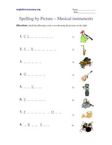 Spelling by Picture - Musical Instruments Worksheet