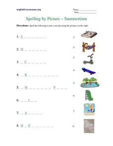 Spelling by Picture - Summertime Worksheet