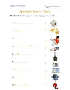 Spelling by Picture - Travel Worksheet
