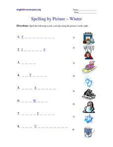 Spelling by Picture - Winter Worksheet