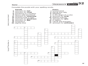 spelling connections grade 5 crossword puzzle 5th 6th grade worksheet lesson planet. Black Bedroom Furniture Sets. Home Design Ideas