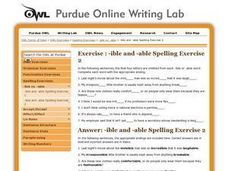 Spelling Exercise: -ible and -able Part 2 Worksheet